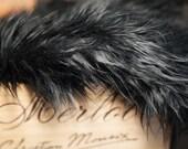 Mongolian Faux Fur Jet Black - Measures 18X33 extra long piece - Photography Prop