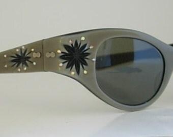 May Rhinestone Sunglasses USA Tan Lucite Cat Eye Black Starburst Eyeglasses Inset Orange Topaz Rhinestones Jeweled New Old Stock NOS Large