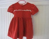 Vintage handmade red and white polka dot dress