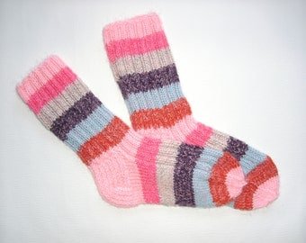 Hand Knit Wool Socks -Colorful for Women - Size M,L,XL