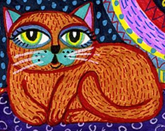 Cat Art, Cat Print, Funny Cat Art, Whimsical Cat Print, Animal Art,  Kids Room Decor, Girls Room Decor, Brown Cat by Paula DiLeo_72210