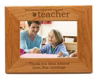Personalized Wood Photo Frame For Teacher