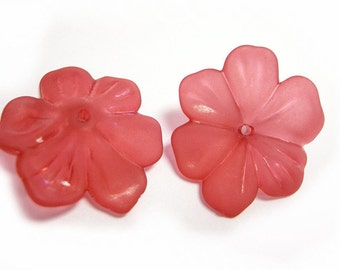 10pc RED acrylic 27mm flower bead-616C