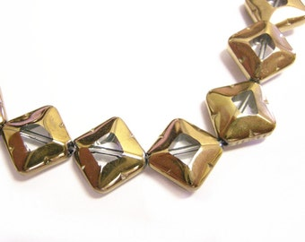 20pc 10mm copper plated  flat glass beads-9145