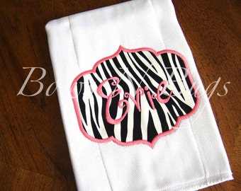 Adorable Zebra Print Applique Burp Cloth With Monogram - Great Baby Gift