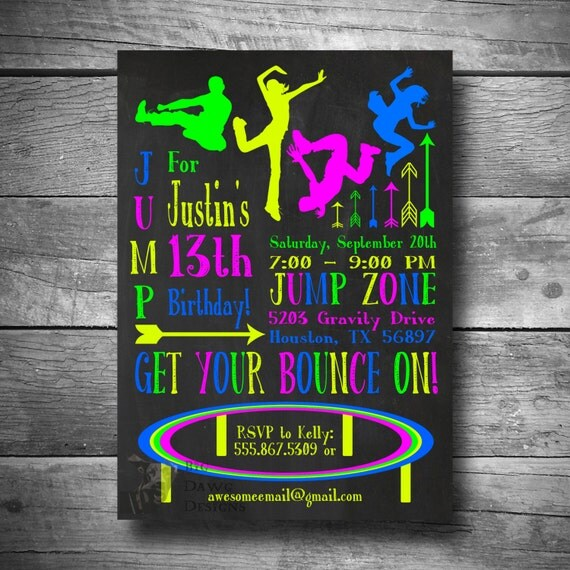 Trampoline Party Invitations: Trampoline Party Invitation Jump Party Invite Printable
