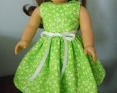 """AG Doll Dress - Green and White Seersucker Dress fitting American Girl & Similar 18"""" Soft Bodied Dolls - Doll Clothes"""