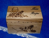 Decorative Rustic Wooden Recipe Card Box Wood Burned Wine Roses Recipe Box Wedding Tree Guest Book Box Personalized Engraved Owl Love Birds