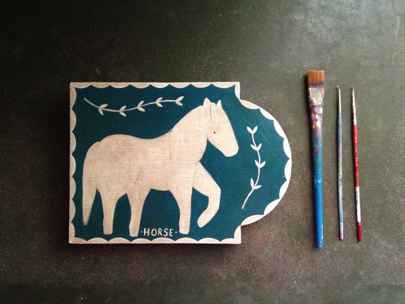 Horse Painting - Children Decor - Equestrian - Blue and White Acrylic Painting