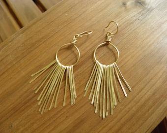 """Earrings... """"Golden Paths""""... hammered brass chandelier earrings."""