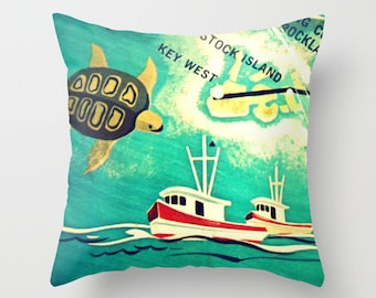 Key West Pillow Cover 18x18, Florida Keys Pillow, Key West Gift, The Keys Pillow Key West Pillow, Stock Island, I Sea Turtle, Boat, Aqua