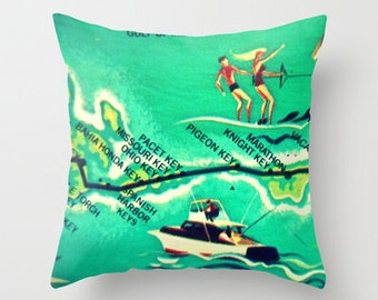 Florida Keys Map Pillow Cover, Florida Keys Pillow, Mid Century Pillow, Mid Century Map, Pigeon Key, Marathon, Keys Map Pillow Aqua Ski Boat