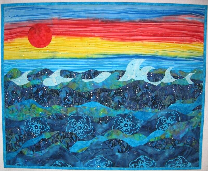 Ocean Quilt Art Quilted Wall Hanging Ocean Sunset Sea