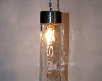Trendy Upcycled Voss Water Bottle Pendant Lamp