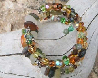 Genuine sea glass and glass bead wrap bracelet.  Memory wire.  Easy fit.  Boho Chic. Autumn.  Fall