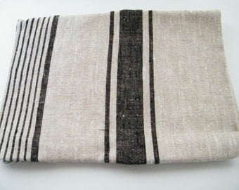 Natural Linen Bath Towel / Sheet for SPA, Sauna,  - Black Stripes - Pure Flax Bathroom Linens