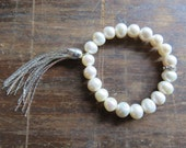Freshwater White Pearls, Pave Rhinestones, Silver Tassel Elastic Bracelet ... Boho Glam. Natural. Layering.