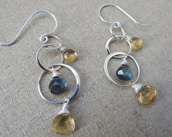 Citrine and Labradorite Sterling Silver Past Present and Future Sterling Silver 3 Hoop Earrings