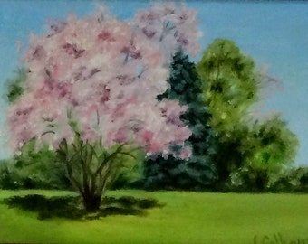 "Fine Art 5 X 7 Print of my Original Oil Landscape Painting ""Magnolia Tree"""