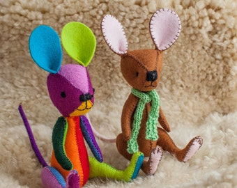 Mouse Pattern - PDF, soft toy. Make him any way you like.  Multicoloured, brown, grey or white.  He will look just as great.