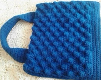 Hand Crocheted Royal Blue Handbag ECS
