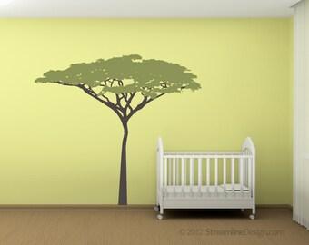 Six Foot Tall Acacia Tree Removable Vinyl Wall Art, nursery wall art tree decal jungle safari theme room lion king kids room tree