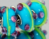 3D Purple and Yellow on Blue Glass Lampwork Beads for  European Style Charm Bracelet
