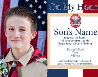 Custom Eagle Scout Court of Honor Invitation Announcement Digital File 5x7 & Program with Printable Decorations
