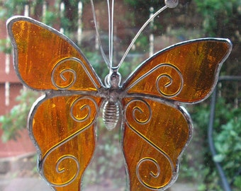 Orange Butterfly in Stained Glass Suncatcher