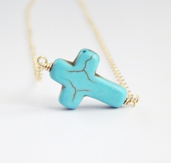Turquoise Sideways Cross Necklace 14k Gold Filled Chain