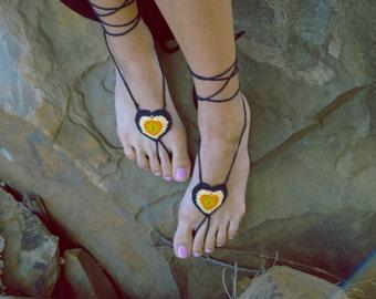 Handmade Crochet Heart Barefoot Sandals,Valentines Hippie Foot Thongs,Summer, Beach, Sandals, Festival,Yoga,Bellydancing, Bohemian