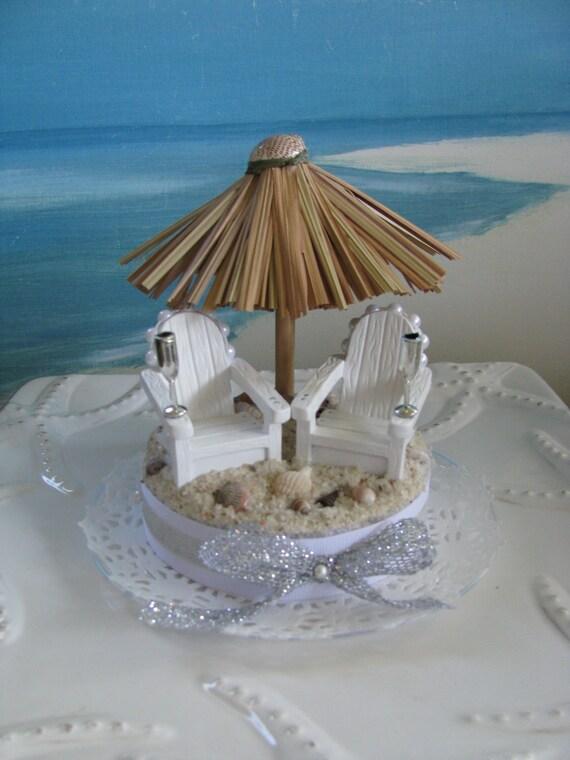 Tiki Umbrella Wedding Cake Topper Adirondack Chairs Wedding