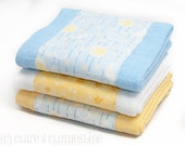 Baby Burp Cloths - Yellow and Blue Moons and Stars Burp Cloths Set of 3 - READY TO SHIP