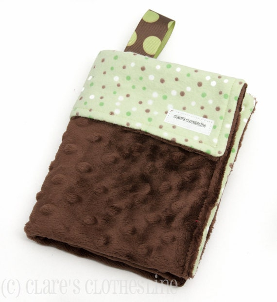 Baby Lovey Blanket - Green and Brown Polka Dot Lovey - Ready to Ship