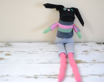 Unique Black Bunny Sock Animal Rag Doll, Hand-Stitched, Made with all Reclaimed clothing, Plush Softie, Hipster Toy, OOAK, Sustainable Gift