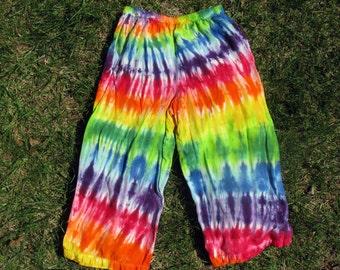 Rainbow Tie-Dye Rayon Crop Pants