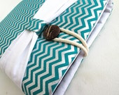 Chevron Kindle Sleeve, Kindle fire sleeve cover, nook cover, Google nexus 7 case-Teal with bow.