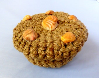 Crocheted Covered Jute Basket with Seashell Lid