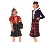 1930s Girls Dress Pattern McCall 9070, Scottish Ensemble, Pleated Skirt, Ruffle Blouse, Jacket, Hat, 1936 Vintage Sewing Pattern Size 8