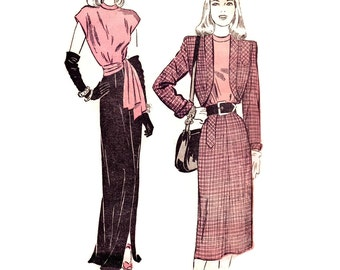 1940s Dress Pattern, Advance 4689, 2 Piece Evening Gown or Skirt, Blouse, & Bolero Daytime Ensemble, Vintage Sewing Pattern, Bust 30
