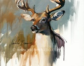 Buck - Deer from Pennsylvania  - Animal Portrait- Giclée Fine Art Print