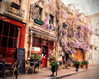 Romantic street and restaurant in Paris, France. Instant Download, Digital, Fine Art Photography - Paris Photography