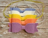 5 pack of large wool felt bow - baby girl / newborn photo prop - 160 colors - headband - you pick 5 - pink / white / black -