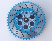 Bike part & carbon fiber wall clock unique guys mans bicycle BMX gear workshop office kitchen gift - Silver blue black