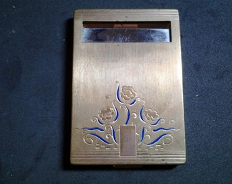 Bourjois New York Compact,  Brass and Etched with Flowers