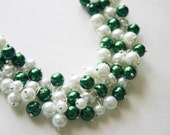 Green & White Pearl Necklace / Eastern (Michigan) State NY Jets Hawaii Marshall North Texas Alabama - Birmingham College Football Jewelry