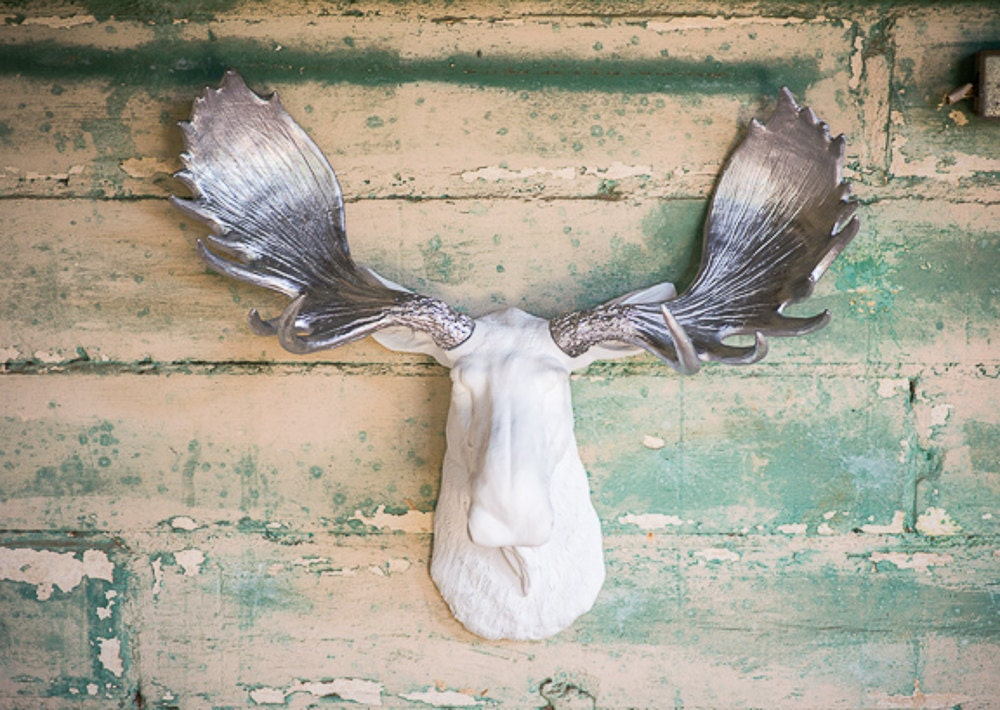Faux moose head fake taxidermy wall mount resin by foundandsouled - Fake moose head mount ...