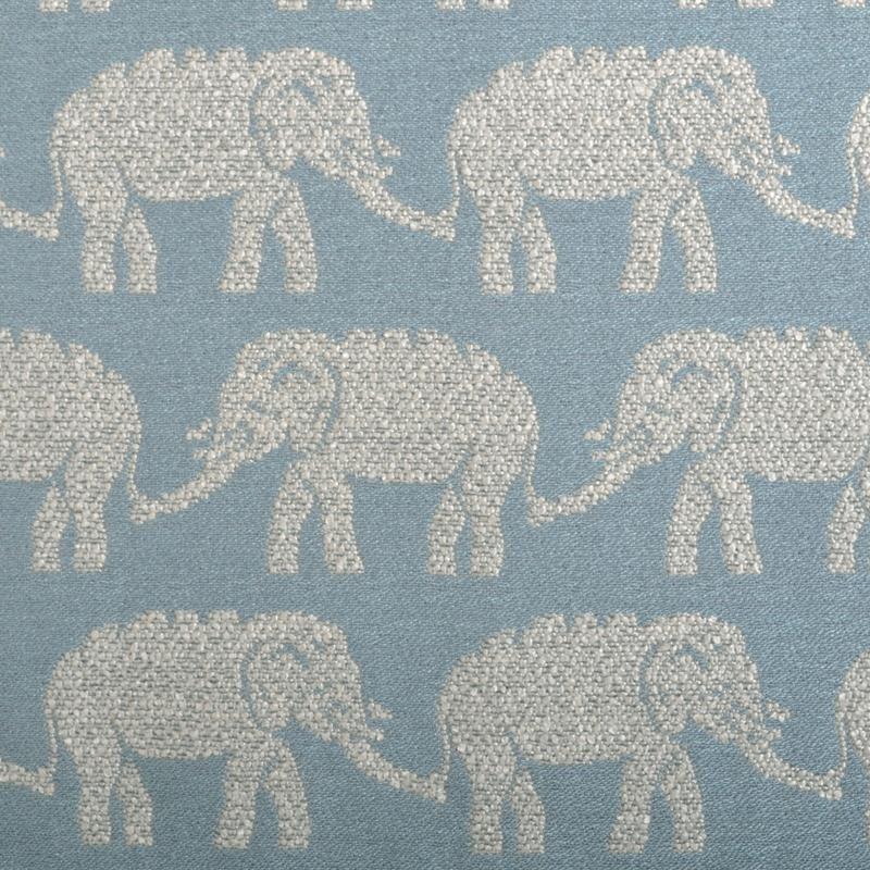 Elephant upholstery fabric light blue animal woven for Elephant fabric
