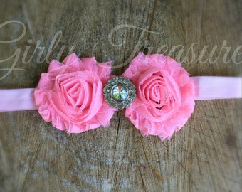 Pink Shabby Flower Headband. Baby Headband. Newborn Headband. Girl Headband. Infant Headband. Photo Prop.