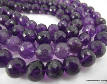 Faceted Round Amethyst Beads, Large Amerthyst Beads, 9 - 11 mm, Luxe Beads